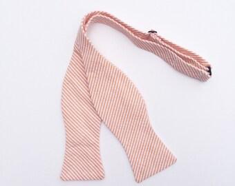 Men and Teen's Orange Seersucker Bow Tie