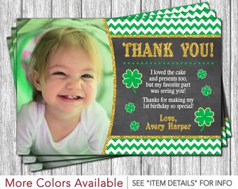 St. Patrick's Day Birthday Thank You Card | St Patricks Day Birthday Thank You Card