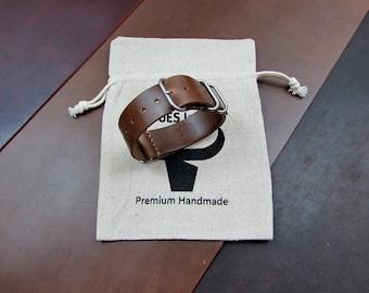 Horween Chromexel leather custom ZULU/NATO watch band 16, 17, 18, 19, 20, 21, 22, 23, 24 mm.