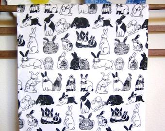 Bunny Print Linen/Canvas Kitchen Towel
