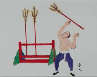 Chinese Circus Performer Juggling the Temple Keys