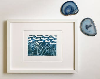 The hills are alive | Mountains and sky | Relief Print Linoleum Print