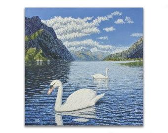 lake oil painting, swan canvas painting, animal paintings, bird art, nature painting, mountain painting, large painting on canvas, lake Como