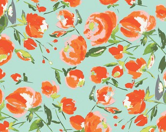 Everlasting Blooms in Citrus - Wild Bloom by bari j.  - Art Gallery cotton fabric