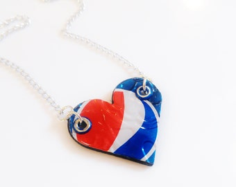 Pepsi Jewelry Recycled Tin Can Necklace Heart Red White Blue Teen Girls Jewelry Trending Now Tween Girls