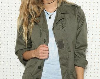 Vintage Women's French F1 olive khaki jacket coat surplus army military retro urban ladies