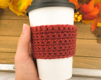 Coffee Cup Cozy Sleeve // Burnt Orange // Ready to Ship // Handmade // Thanksgiving // Stocking Stuffer // Christmas Gift