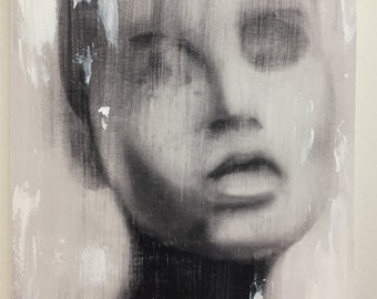 blur girl 1 - embellished print on wood.