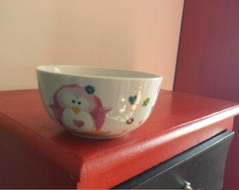 Pink Penguin porcelain bowl