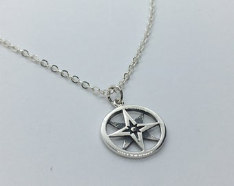 Solid Sterling Silver Compass Rose Necklace. Add A Charm, Charm Necklace or Pendant. Nautical Jewelry, Ocean Beach Necklace. Great Gift!