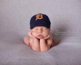 Newborn Baby Baseball Cap, Baseball Hat,  Detroit Tigers , Custom Made to Order