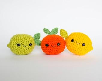 PATTERN ONLY: Crochet Fruit Pattern, Citrus Fruit, Crochet Play Food, Crochet Pattern, PDF Pattern, Amigurumi fruit, Amigurumi pattern