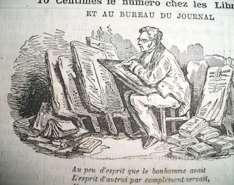 Antique vintage French Newspaper February 22th, 1878. News paper 19th century