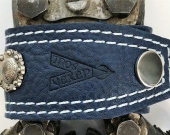 """Vexed Soul """"Maiden Shield"""" Premium Quality Top Grain Blue Leather Bracelet, 8.5""""  …"""