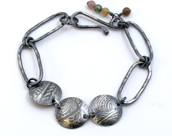 statement bracelet, silver bracelet, artist jewelry, jade beads, chain and link bracelet, layering bracelet, gift for her, summer jewelry