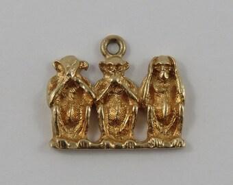 Three Wise Monkeys-See No Evil, Speak No Evil, Hear No Evil 10K Gold Vintage Charm For Bracelet