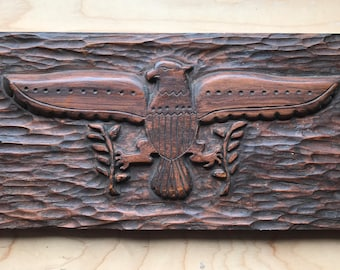 Folk art- hand carved wood eagle, shield & olive branches, Americana!