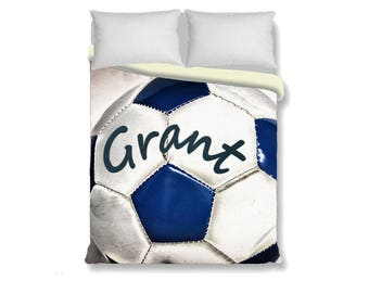 Custom Duvet Cover-Soccer ball with Name Duvet Cover-Sports Duvet Cover-Sports Bedroom Decor-Girls Bedding-Boys Bedding-Personalized Duvet