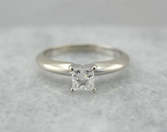 Princess Cut Diamond Solitaire Engagement Ring in White Gold 11YQQR-D