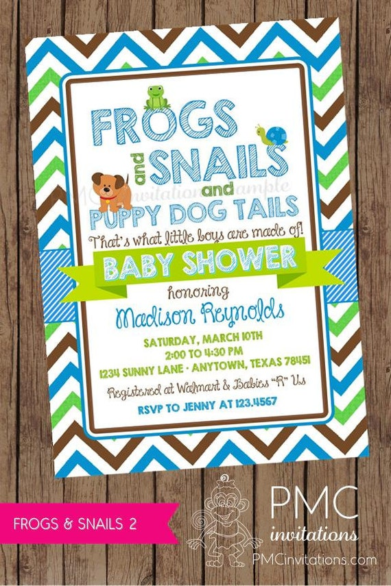 Frogs and Snails and Puppy Dog Tails Baby Shower Invitations