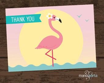 Pink Flamingo Girls Thank You Note Card DIY Custom Digital Printable -- Water / Pool / Beach / Summer Parties