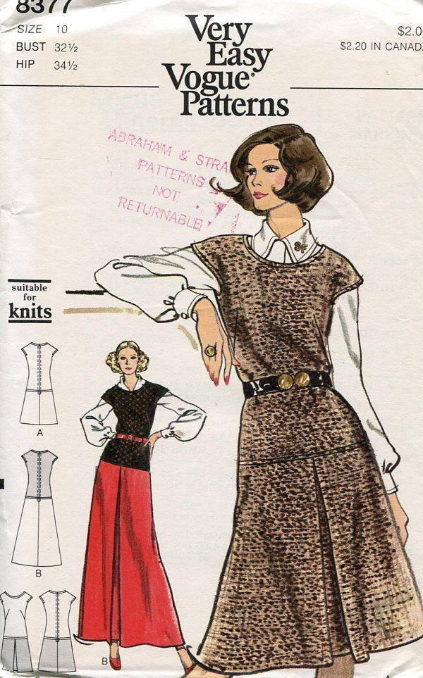 FREE US SHIP Sewing Pattern Vogue 8377 Vintage Retro 1970s 70s Top ...