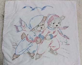 VTG Pillow Cover Embroidered Dogs Ice Skating Winter Handmade Puppy Love