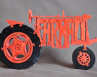 Farmall  Antique Red Farm Tractor Toy Puzzle Hand Cut