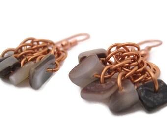 Beaded Copper Earrings Chainmaille Handmade Jewelry Golden Shell Earrings Gorgeous Summer Earrings San Diego California USA