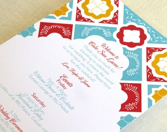 Mexican Tile Wedding Itinerary Card - Welcome Bag Card Talavera - Destination Events Card - Custom Colors