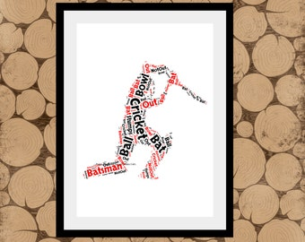 Cricket Print, Cricket Gifts, Personalised Cricket Print, Cricket Batsman, Cricket Word Art, Cricket Word Collage, Cricket Team Gift.