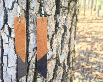 Two piece angled leather earrings