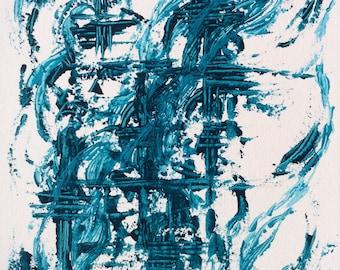 Waving sea  Original, acrylic, abstract, modern painting.