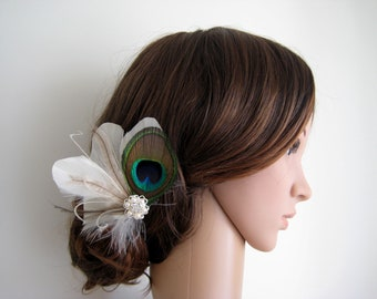 Wedding Bridal Peacock Ivory Brown Feather Rhinestone Jewel Head Piece Hair Clip Fascinator Accessory