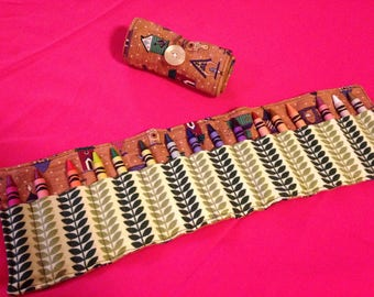 Crayon Roll Up Holder Case Birdhouses Birds Handmade Holds 16 Crayons