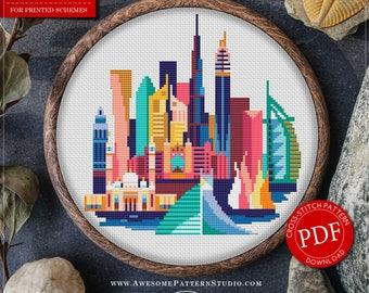 Dubai Cross Stitch Pattern for Instant Download *P139 | Easy Cross Stitch| Counted Cross Stitch|Embroidery Design| City Cross Stitch