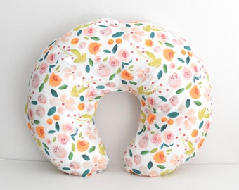 Boppy Nursing Pillow Cover - Indy Bloom Holly Floral, Blush and Gold Flowers with Emerald Leaves