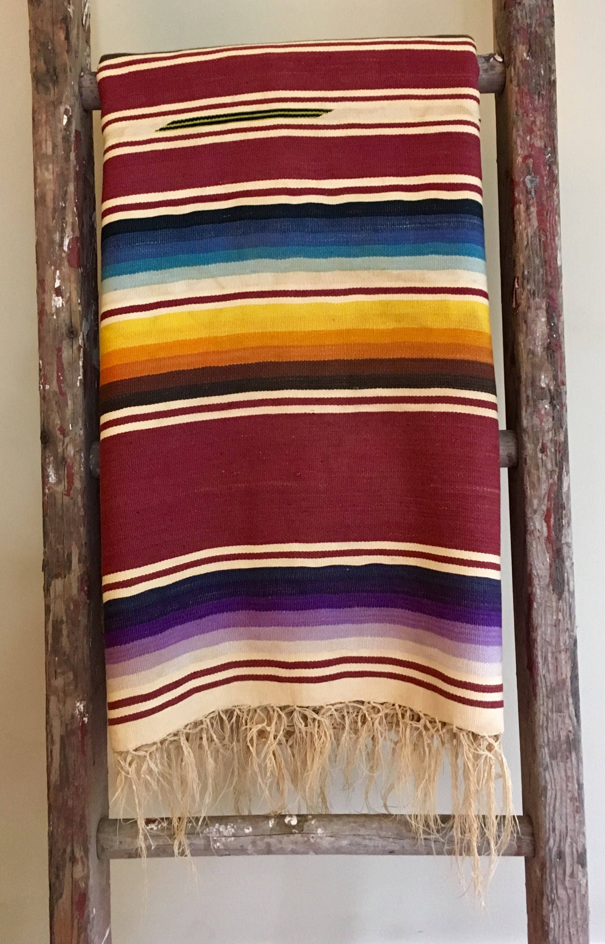 Vintage Serape Saltillo Blanket 40s Throw Woven Mexican