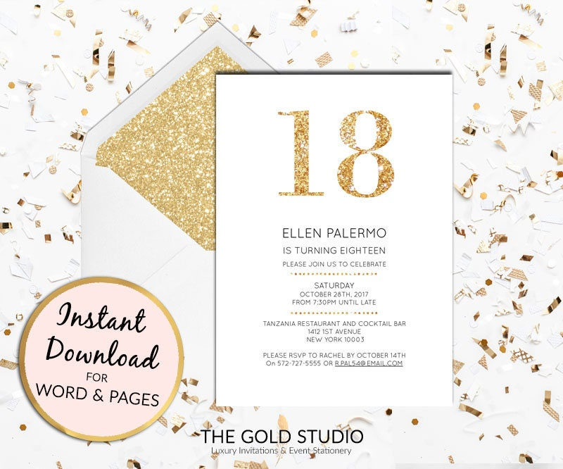 Instant download 18th birthday invitation eighteenth modern elegant instant download 18th birthday invitation eighteenth modern elegant gold glitter birthday invite editable template mac or pc word or pages filmwisefo Image collections
