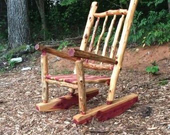 Rustic Cedar Log Rocking Chair   Front Porch Rustic Rocker   Poverty Gulch Rocking  Chair
