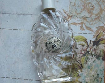Vintage Art Deco Tre-Jur Glass Perfume Bottle with Swirled Design. Original Foil Label with Lady Powdering Her Nose, Empty Collectible
