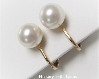 Clip On Earrings WHITE Pearl clip ons Swarovski Pearls clip-on earrings 8mm White Pearl Clip-on Earrings, round pearl earrings GOLD pl