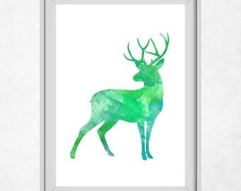 Printable Deer Art,  Deer Wall Art, Green Prints, Deer Watercolour, Green Decor, Boy Nursery Wall Art, Baby Boy, Green Deer, Art Prints