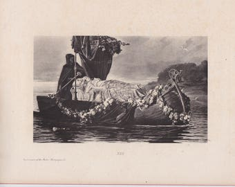Victorian Antique Photogravure Arthurian Legend Lady ELain Lady of SHalot Death Funeral Unrequited Love