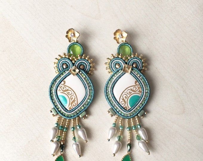 Statement green soutache earrings with gold plated flower detail