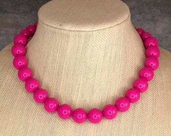 Statement Necklace, Hot Pink, Beaded Necklace, Chunky Necklace, Round Bead Necklace, Pink Necklace, Big Bead Necklace, Big Necklace