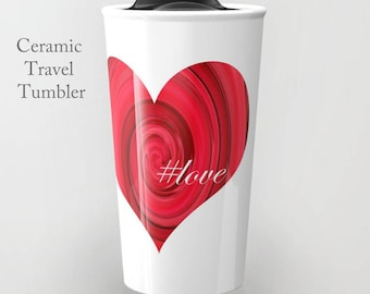 Love Ceramic Travel Mug-Heart Travel Mug-Coffee Tumbler-Ceramic Mug-12 oz Mug-Insulated Coffee Mug-Insulated Travel Mug