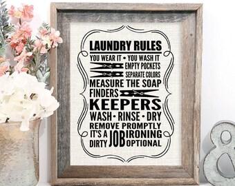 Rustic Laundry Print, Farmhouse Decor, Laundry Rules, Laundry Room Decor