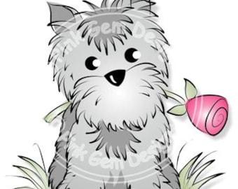 Digital (Digi) Little Gem with Rose  Stamp - Cute Terrier Dog