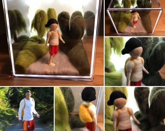 Needle Felted Custom Doll Collage With Led Light Box
